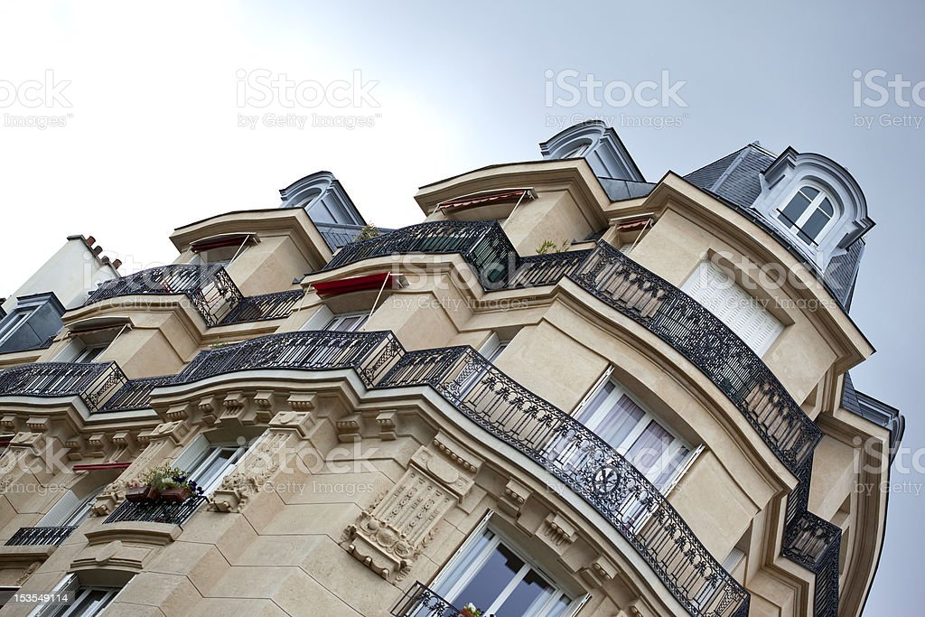 An angled shot of a large building royalty-free stock photo