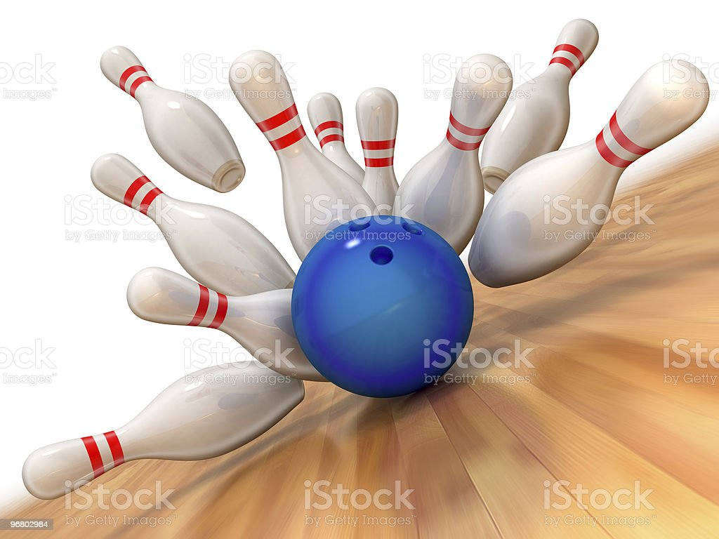 An animated image of a bowling strike stock photo