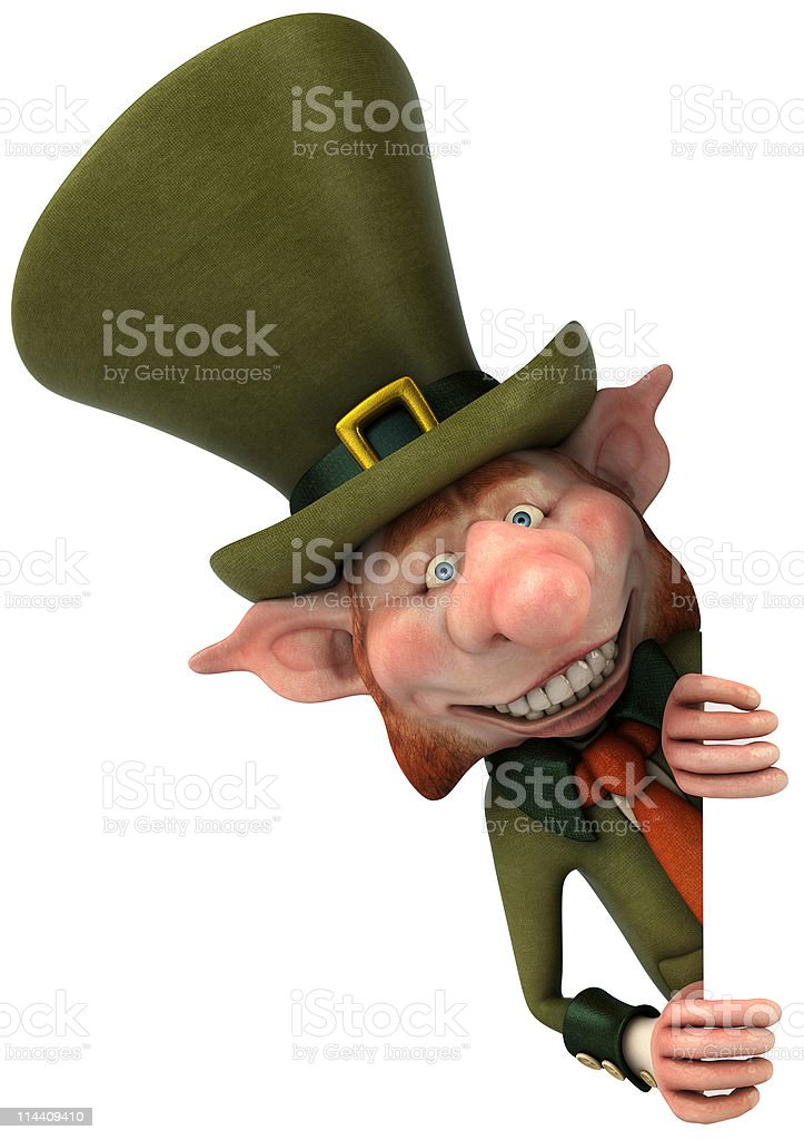 An animated Irish leprechaun cartoon character  stock photo