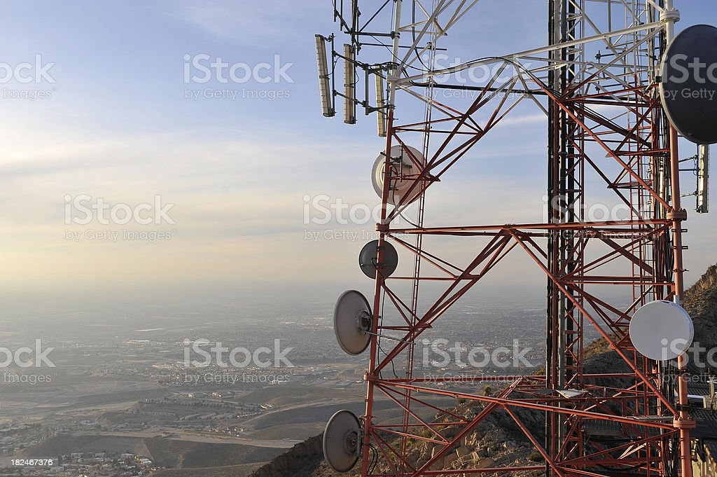 An antenna looking over residential area  stock photo