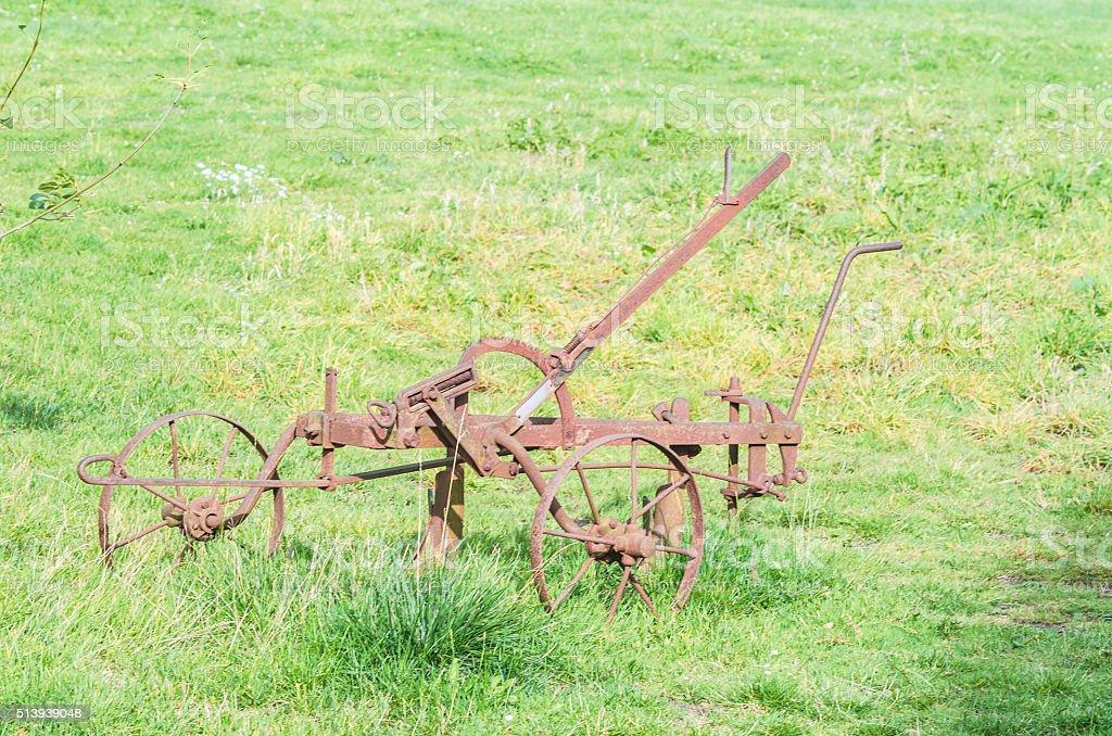 An antique plow. stock photo