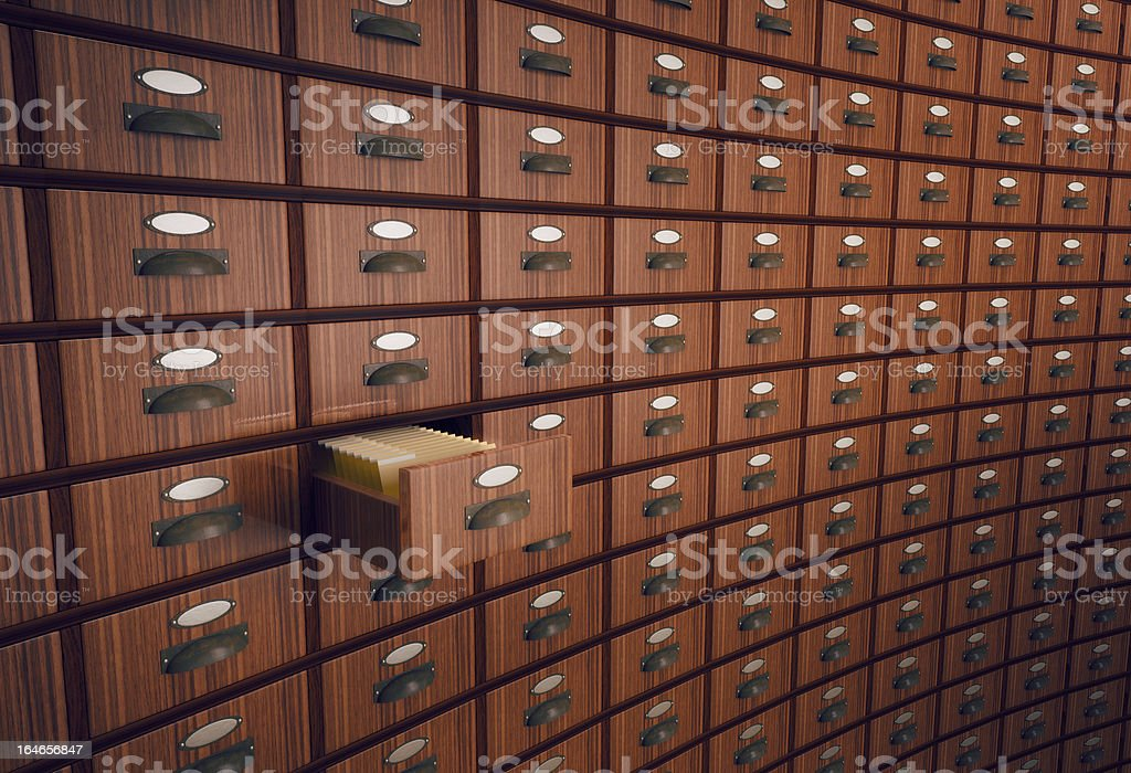 An archive with one drawer open stock photo