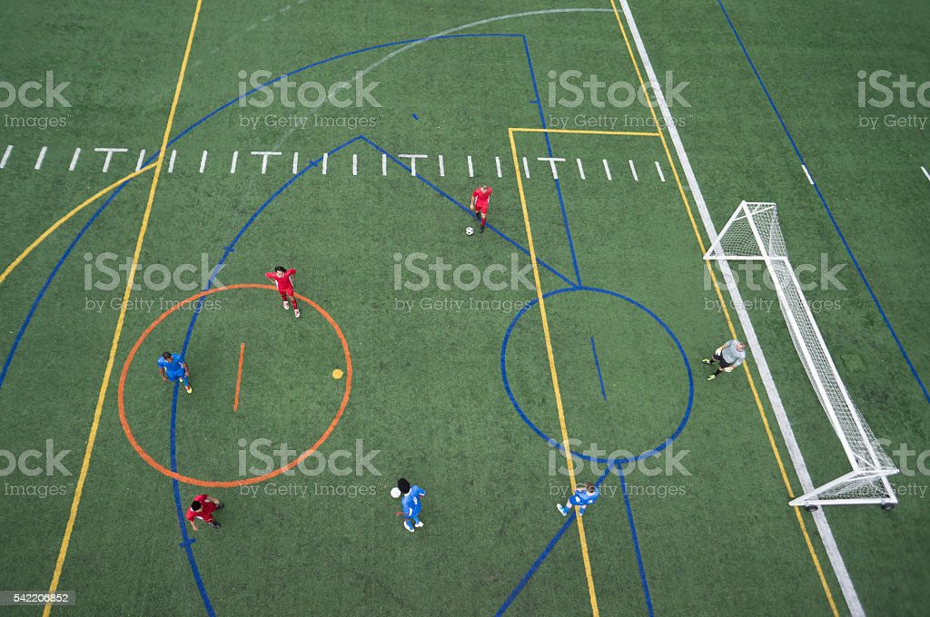 An ariel drone view looking down at a soccer field stock photo