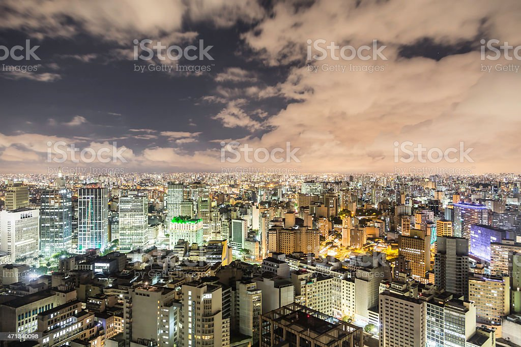 An ariel view of Sao Paulo, Brazil at dusk stock photo