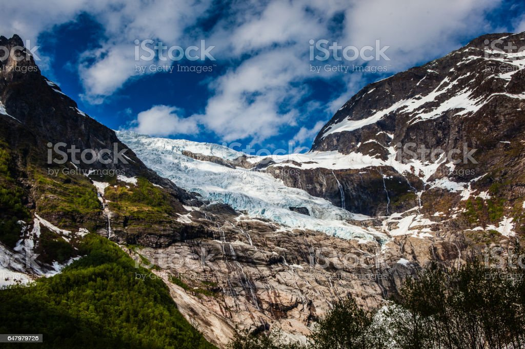 An arm of the glacier Briksdalsbreen stock photo