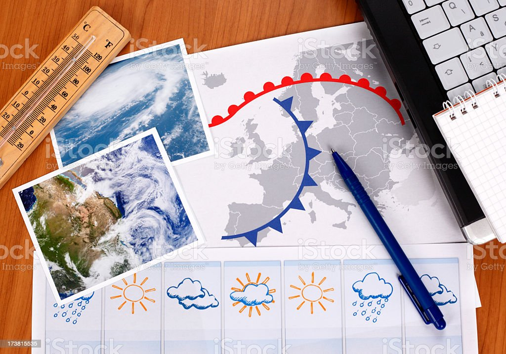 An arrangement of different utilities related to weather stock photo