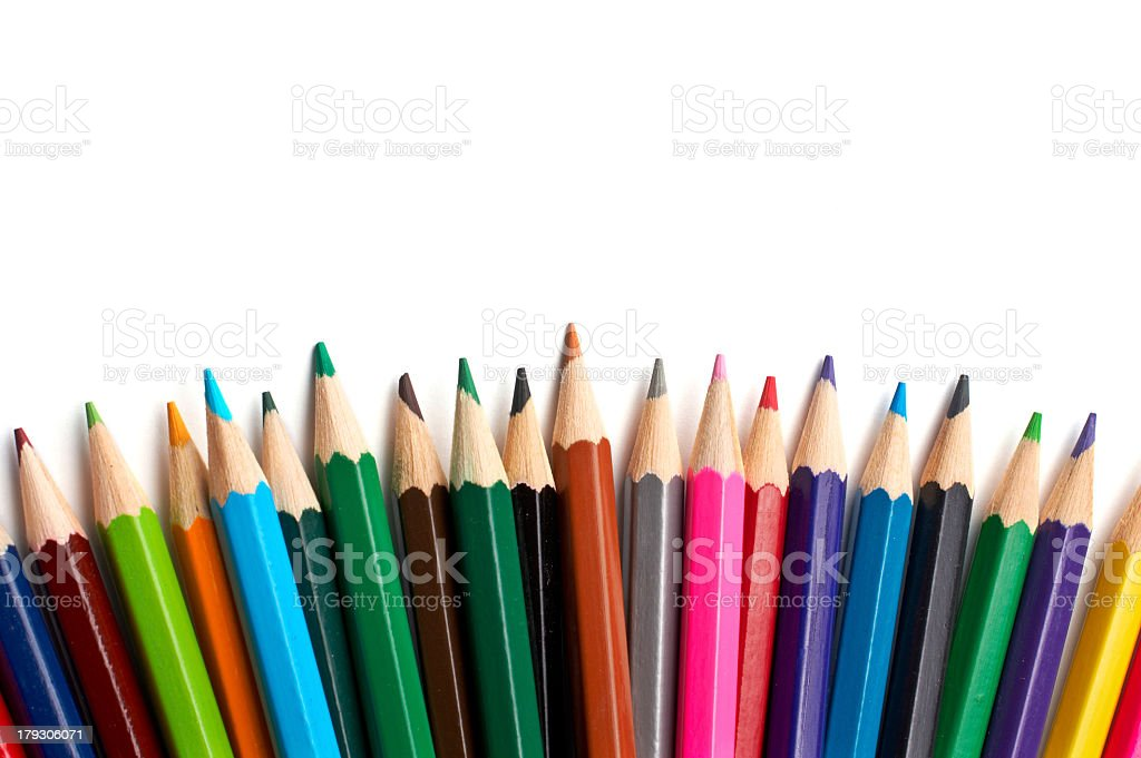 An array of different colored pencils royalty-free stock photo