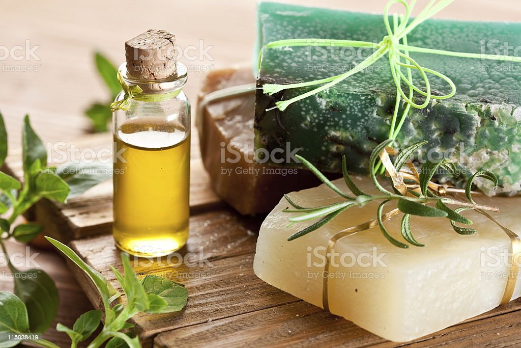 An array of natural soaps that are decorated stock photo