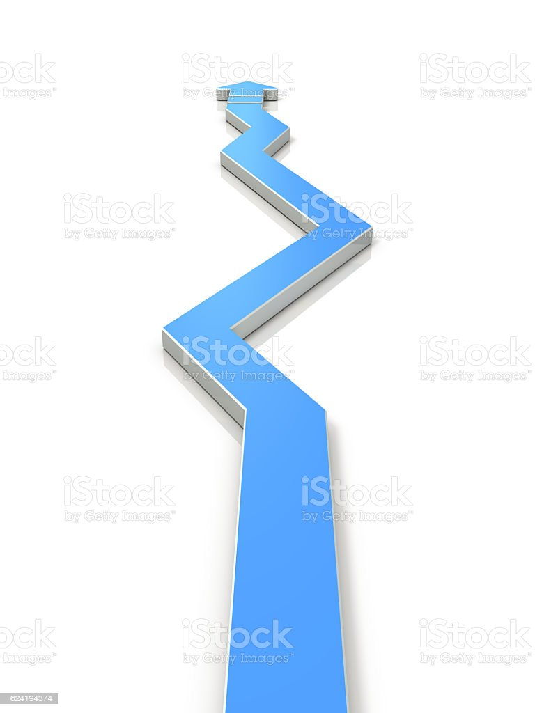 An arrow overturns the course many times. stock photo