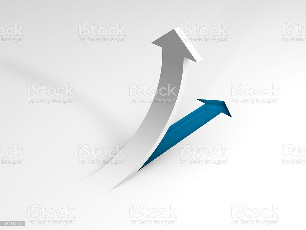An arrow pulled out and pointing up stock photo