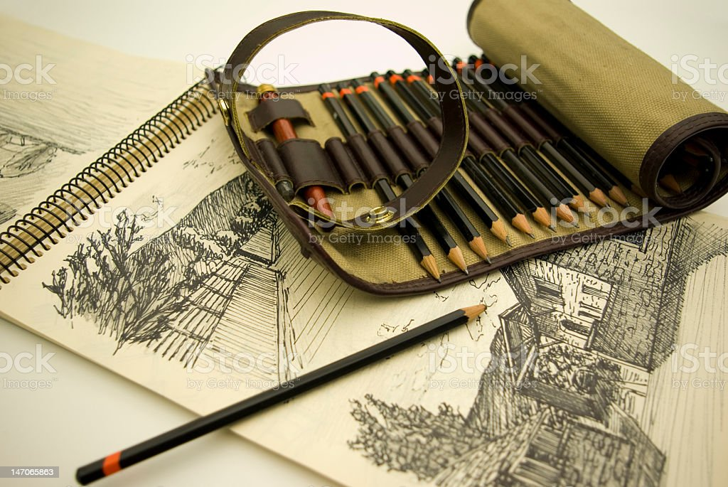 An artist's set of colorful pencils royalty-free stock photo