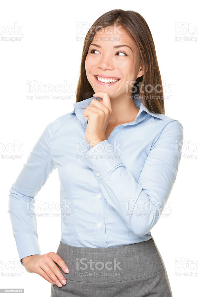 An Asian businesswoman posing to think stock photo