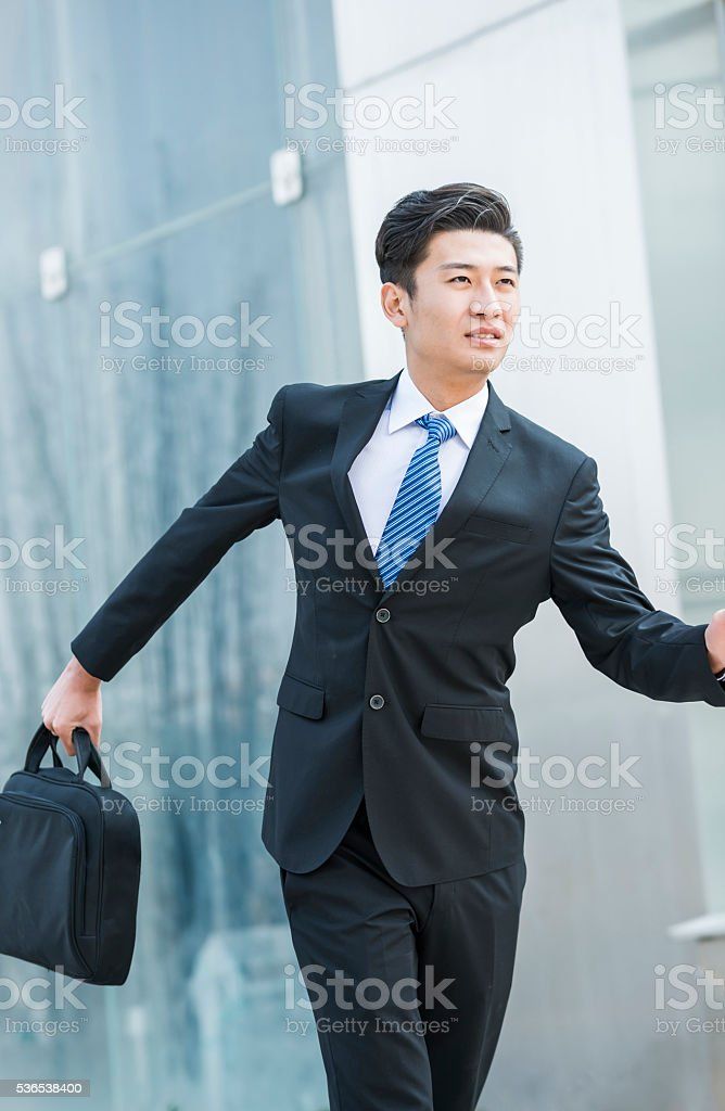 An Asian man in outdoor's portrait stock photo