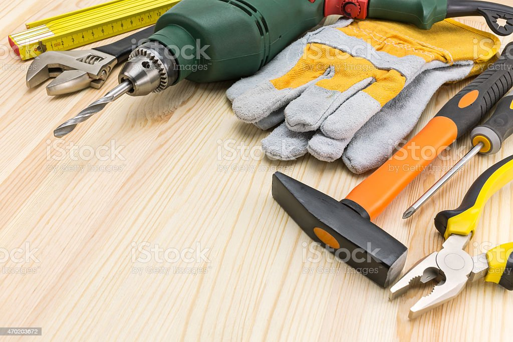 An assortment of carpentry tools stock photo