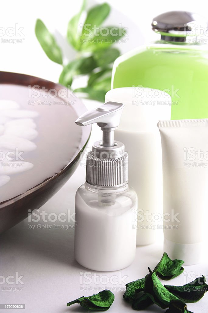 An assortment of lotions and soaps royalty-free stock photo
