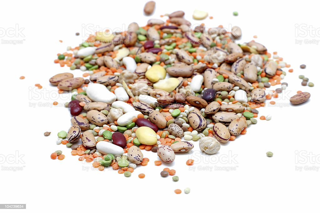 An assortment of mixed legumes isolated on white royalty-free stock photo