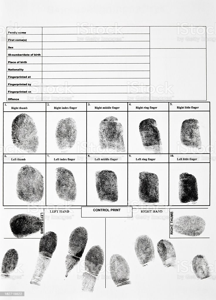 An authentic form of fingerprints stock photo