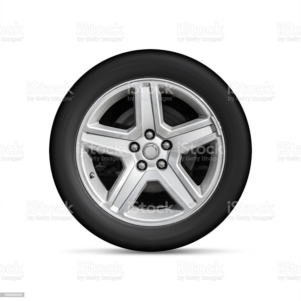 An automotive wheel with alloy tyre plates stock photo