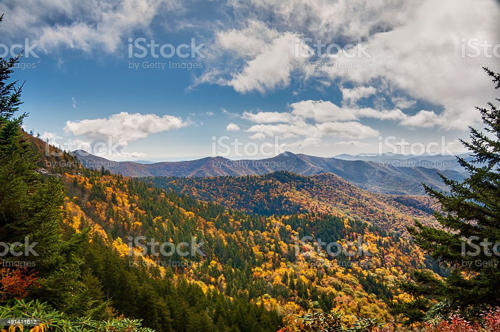An autumn storm flows over Blue Ridge Parkway stock photo
