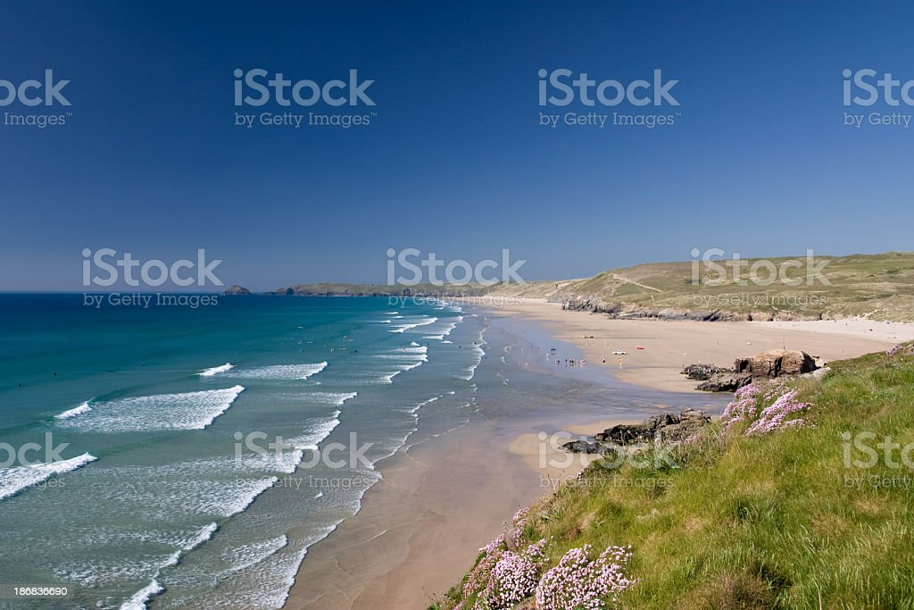 An awesome view of Perranporth on a sunny day royalty-free stock photo