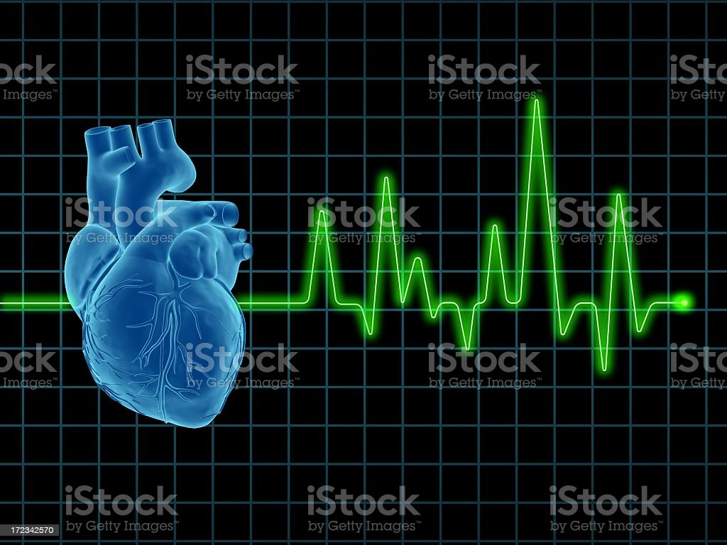 An ECG graph with an animated human heart in blue on screen stock photo