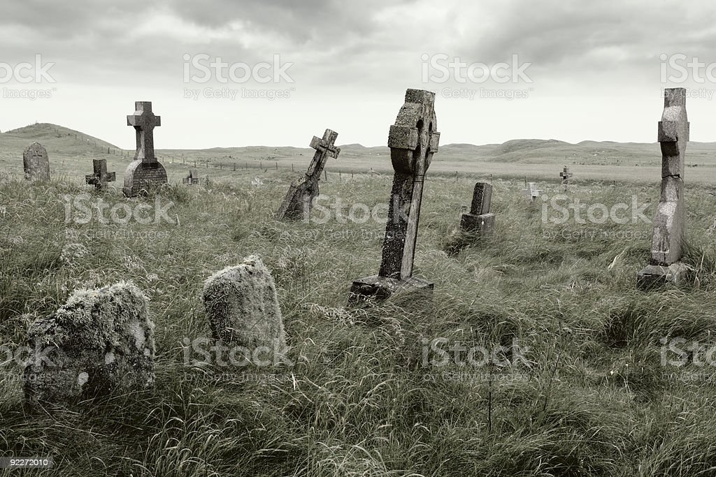 An eerie overgrown graveyard with moody lighting stock photo