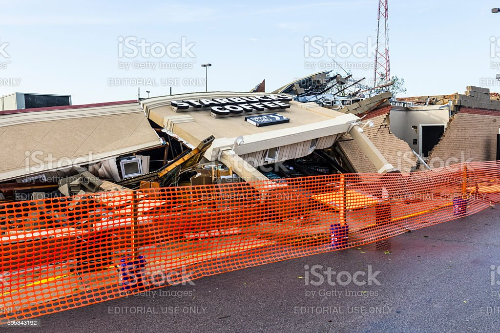 An EF3 tornado touched down destroying a local Starbucks 13 stock photo