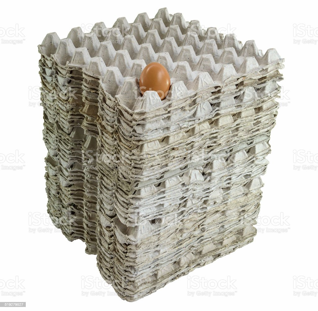 An egg in stacked tray stock photo