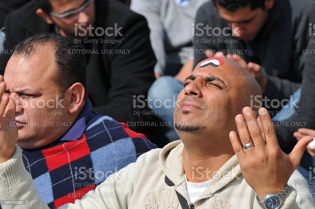 Prayer and Protest in Egypt stock photo