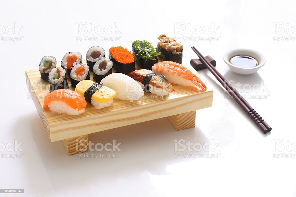 An elegant, tasty dish of sushi stock photo