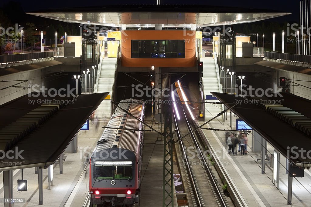 An Elevated View of Train Station at Night royalty-free stock photo
