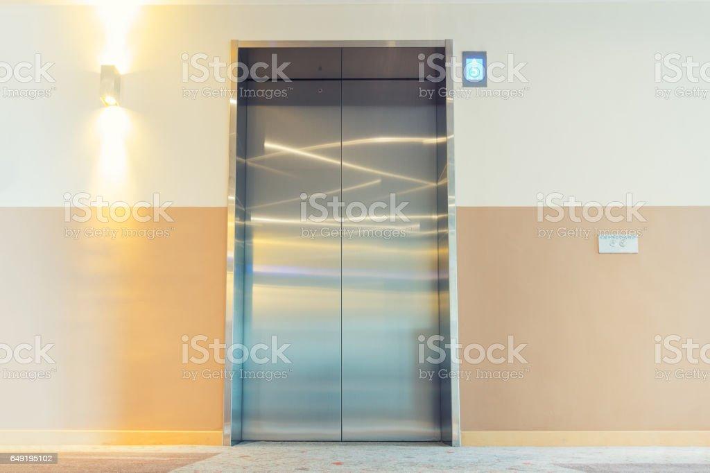 An elevator interior design, modern building design. stock photo