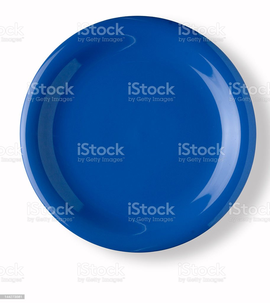 An empty blue dish on white background stock photo