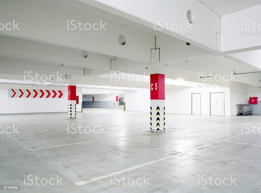 An empty car garage parking lot royalty-free stock photo