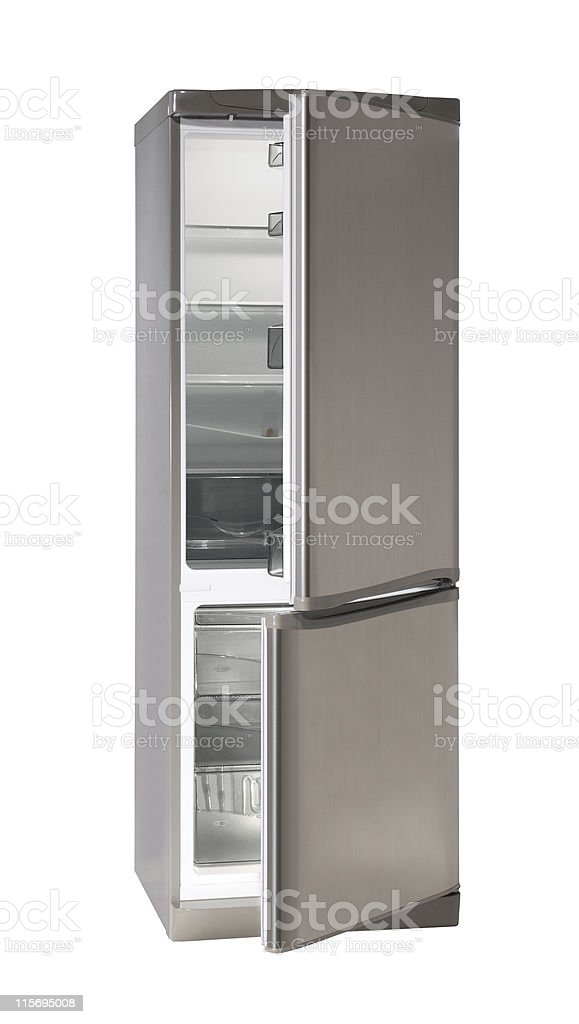 An empty fridge freezer with open doors stock photo