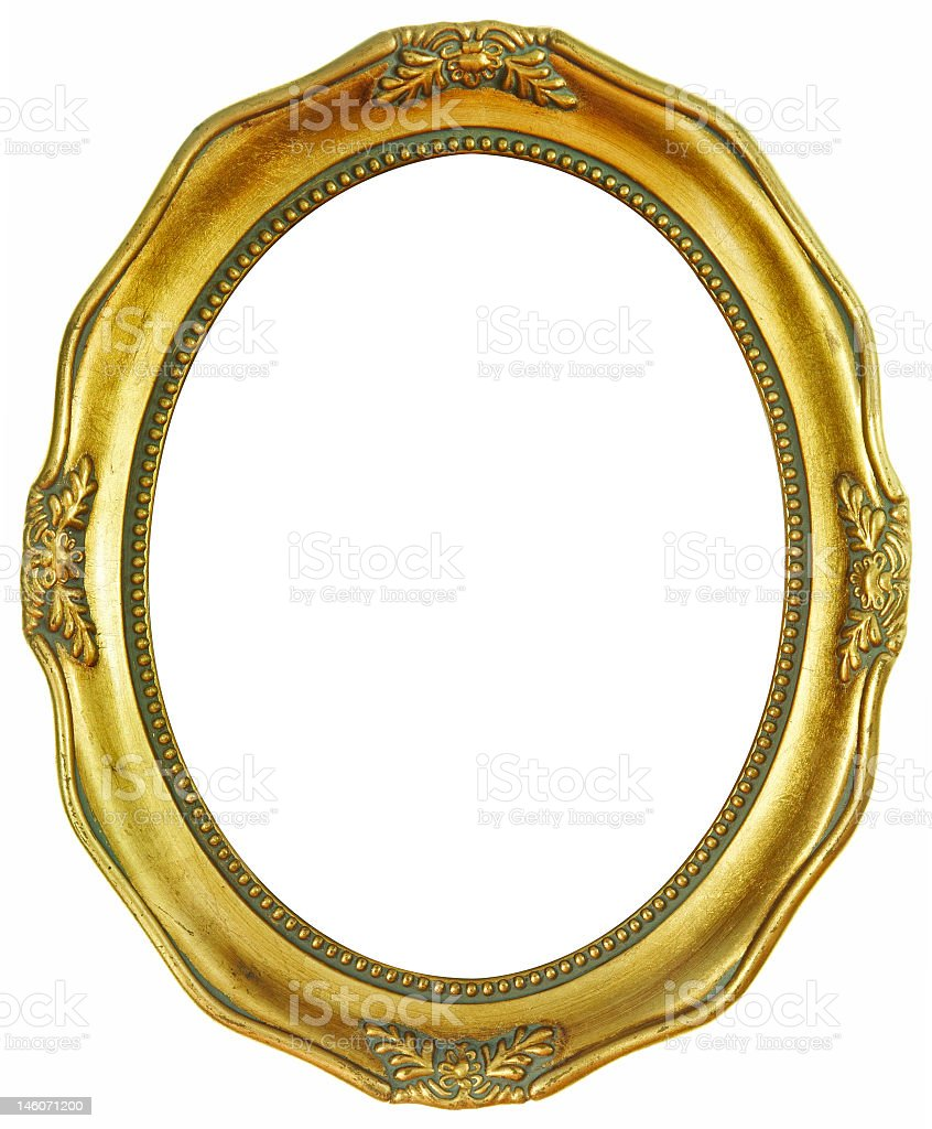 An empty gold oval frame with small designs stock photo