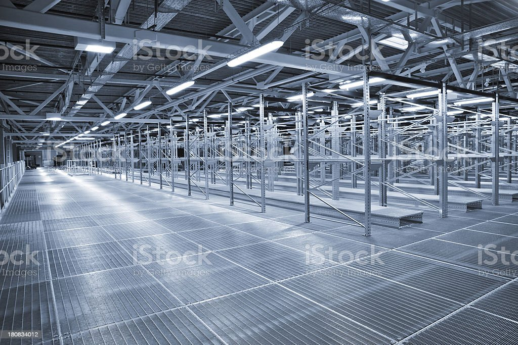 An empty metal storehouse with a lot of shelving royalty-free stock photo