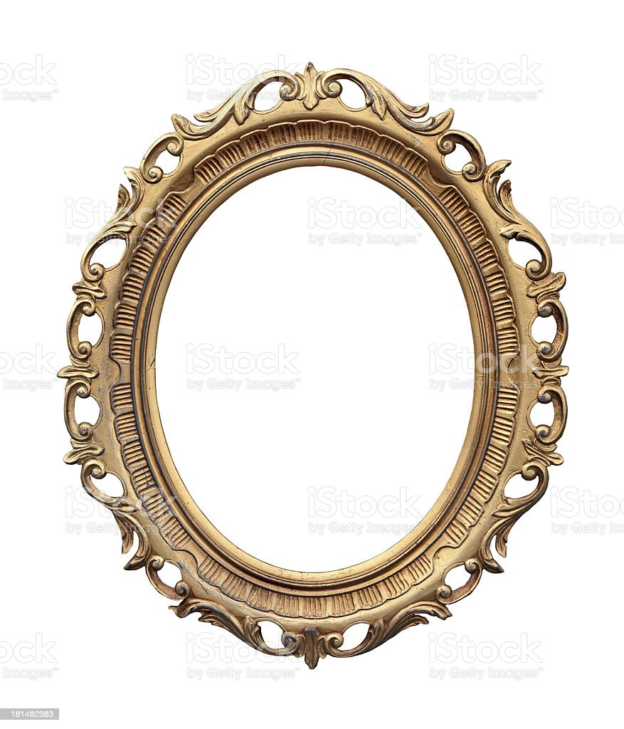 An empty ornate gold frame on a white background stock photo