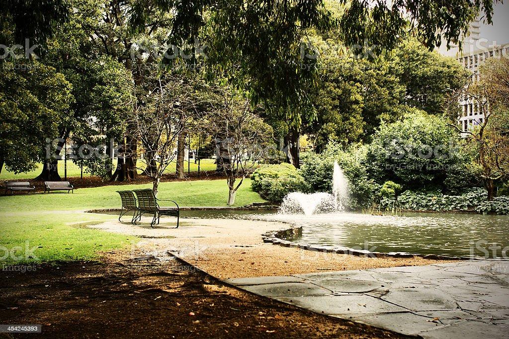 An empty park on a sunny autumn day. royalty-free stock photo