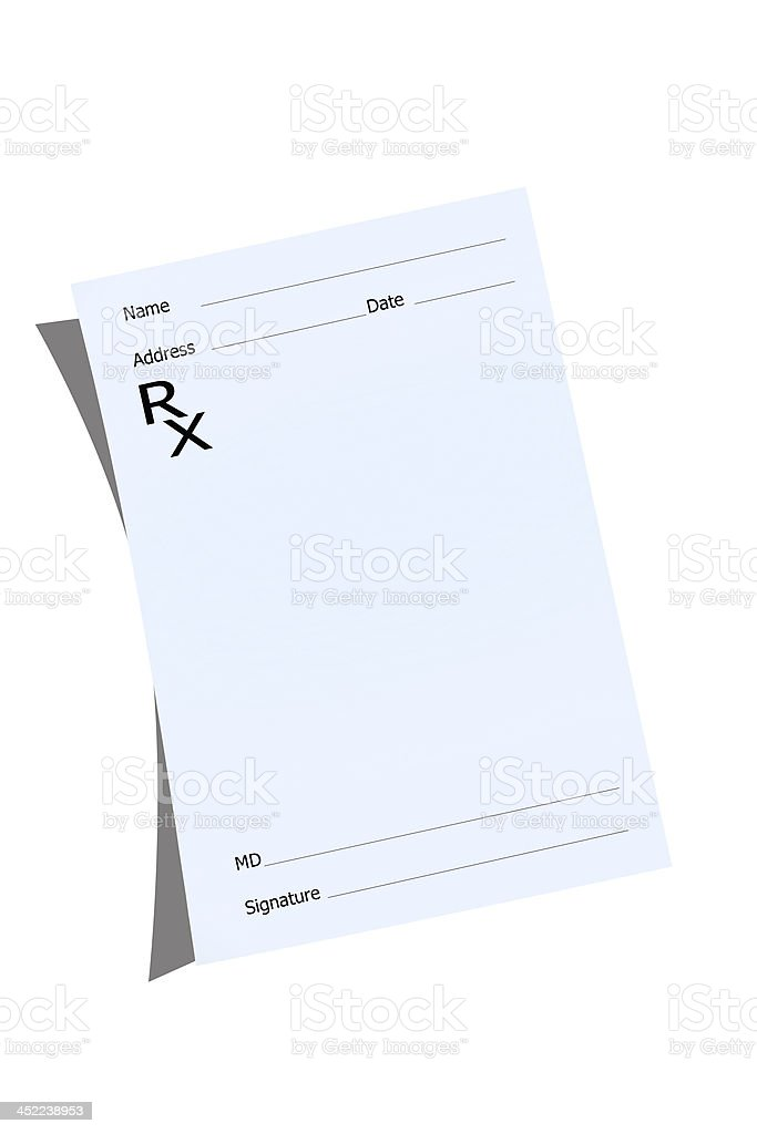 An empty prescription pad stationery stock photo