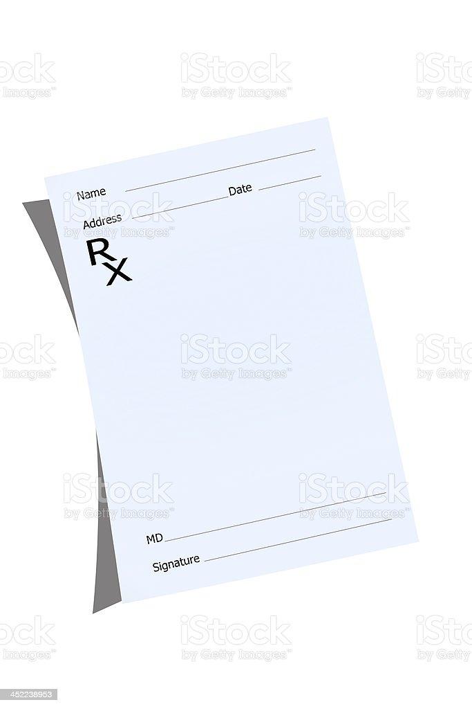 An empty prescription pad stationery stock photo