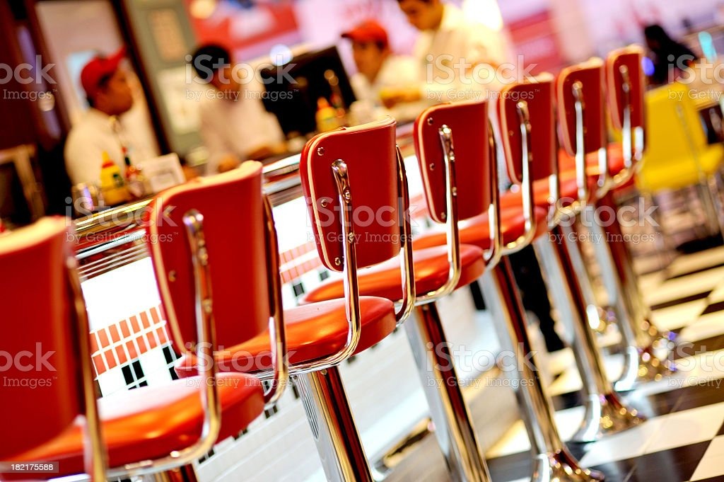 An empty red seats in the restaurant  stock photo