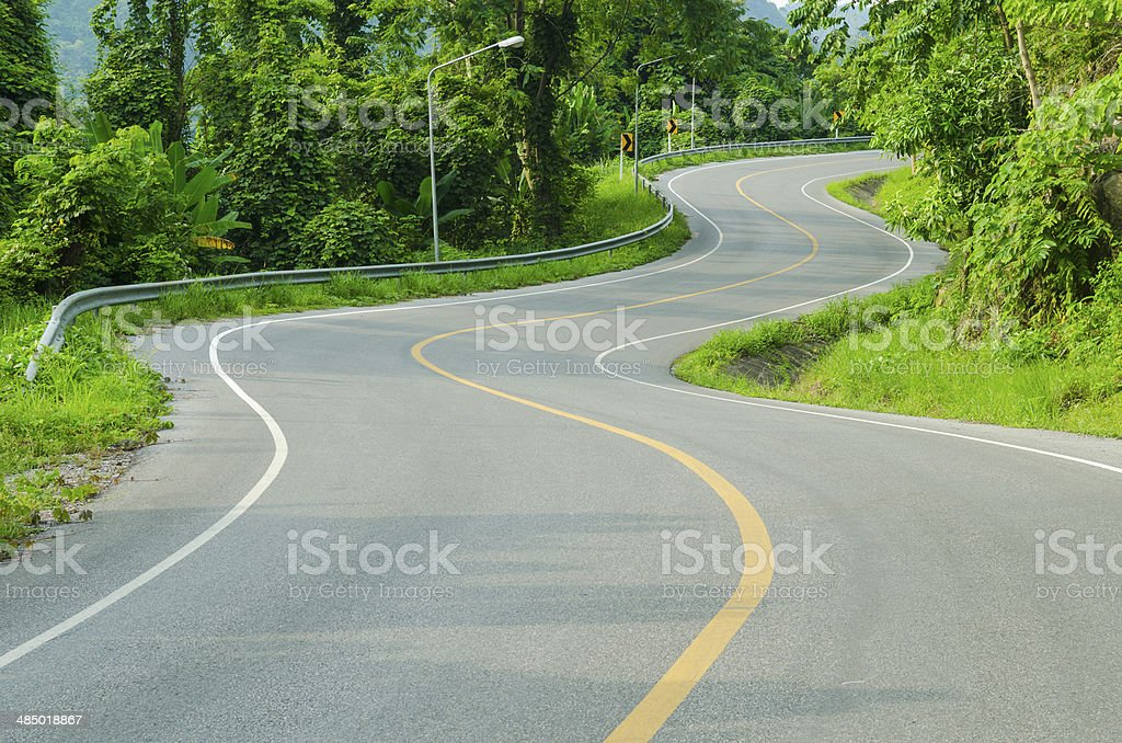 An empty S-Curved road on skyline drive. stock photo