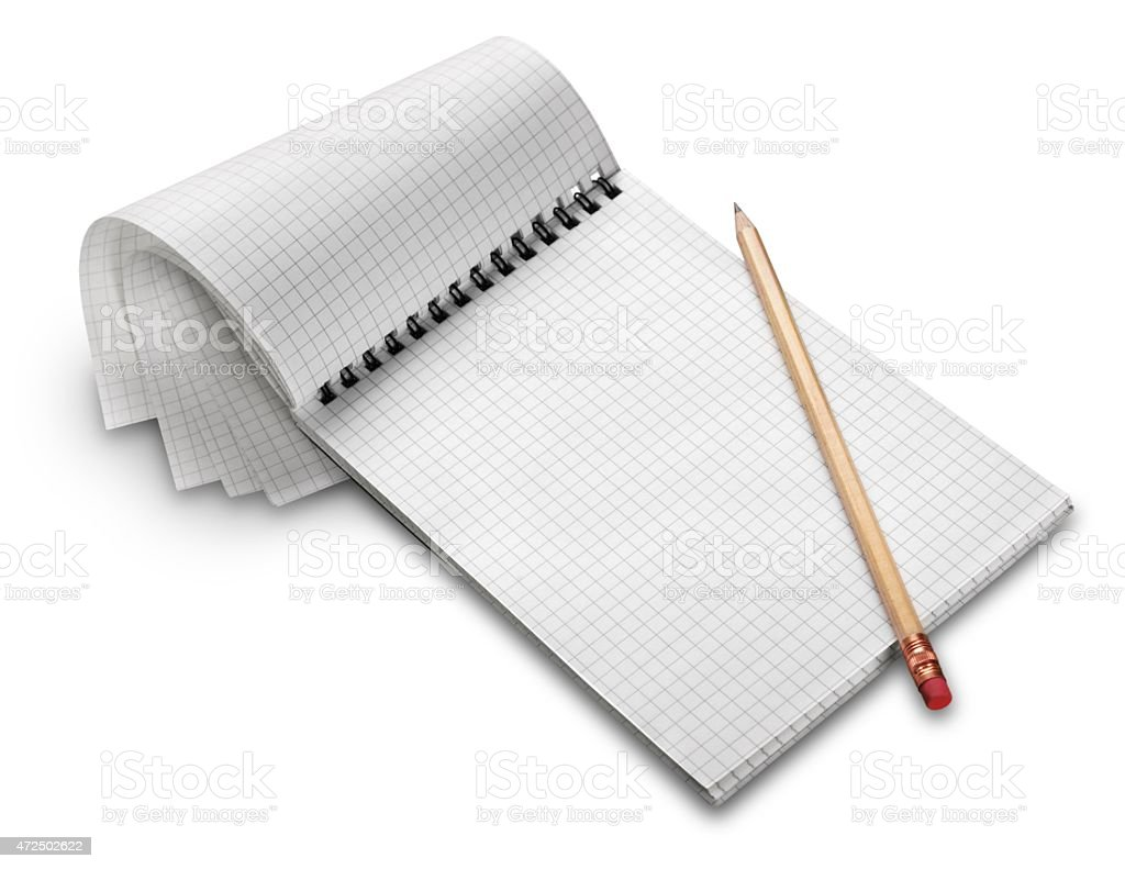 An empty shopping list with a pencil stock photo