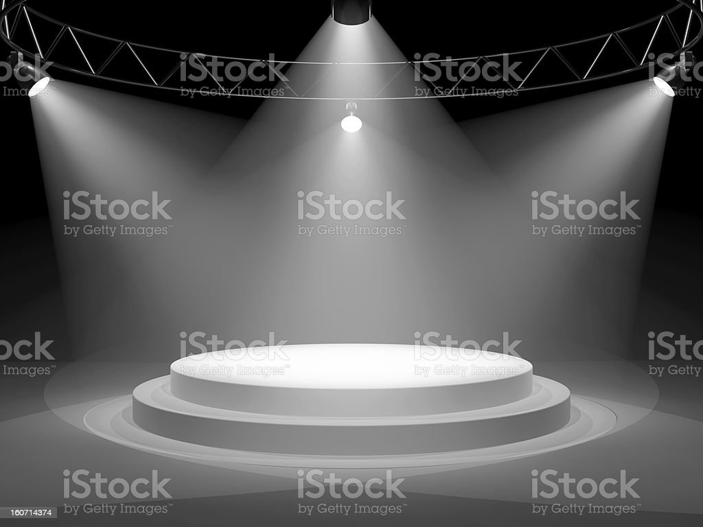 An empty stage with stage lights on royalty-free stock photo