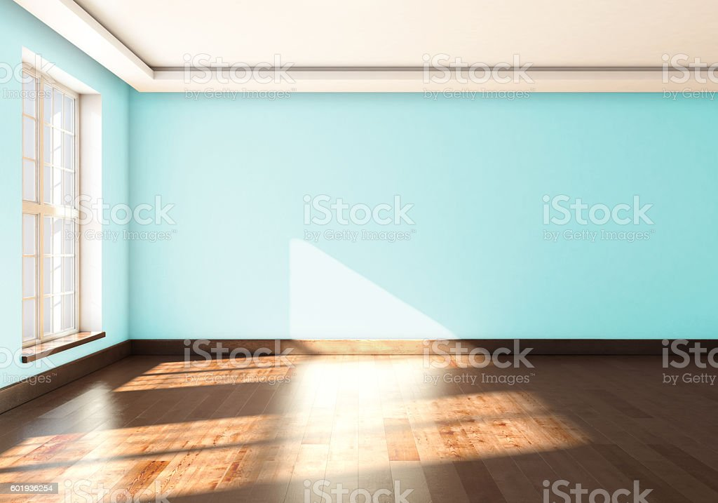 An empty Studio with window and blue wall color. stock photo