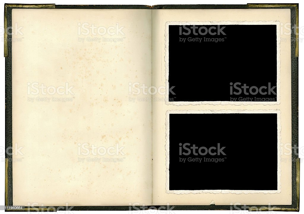 An empty vintage photo album with two free slots in front royalty-free stock photo