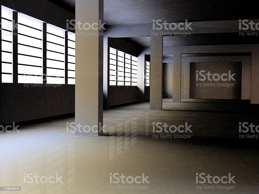 An empty warehouse with glass windows royalty-free stock photo