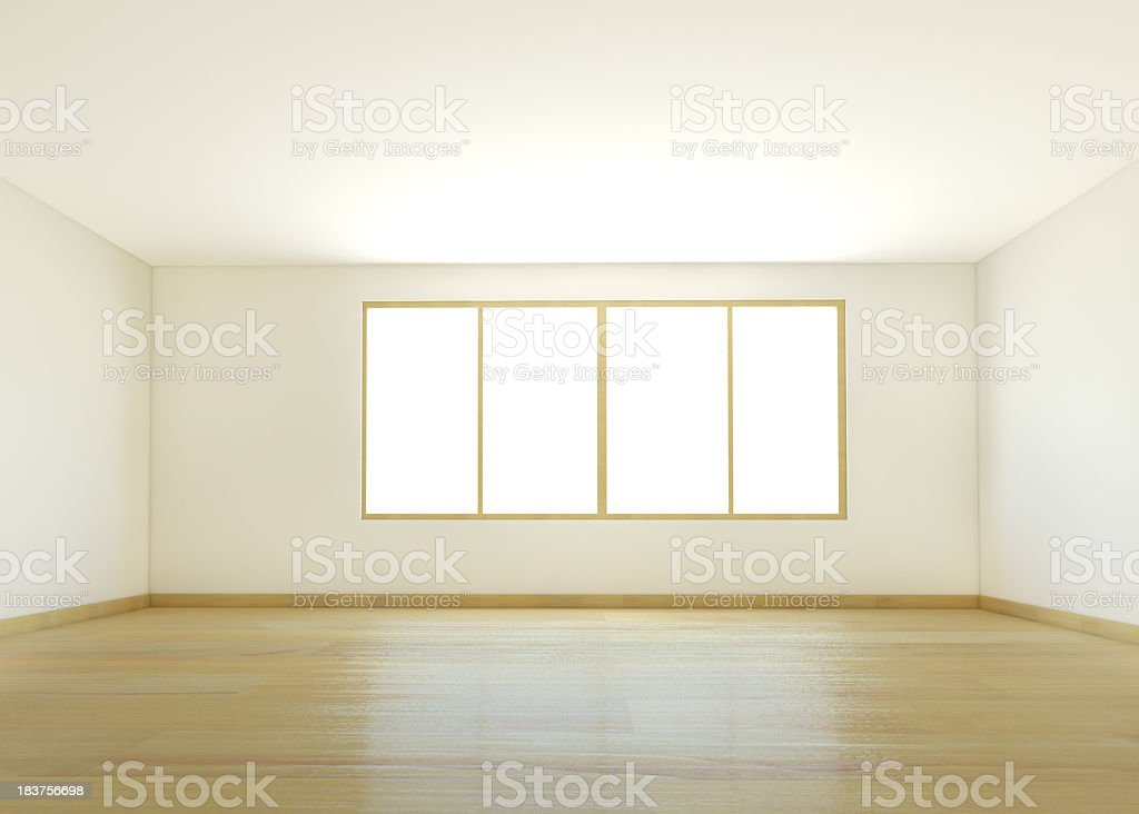 An empty white room with wooden flooring stock photo