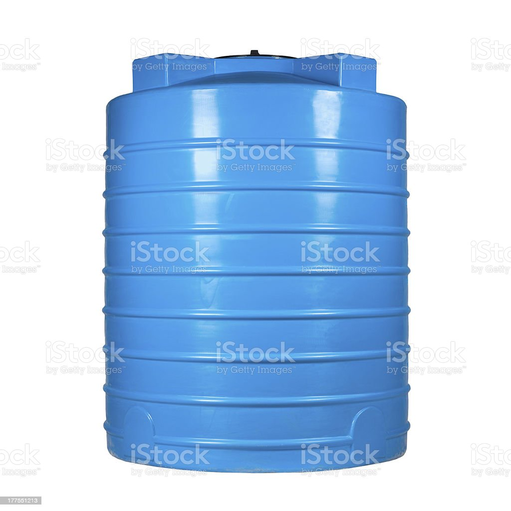 An enormous blue plastic container stock photo